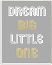Stupell Home Décor Dream Big Little One Grey Gold White Graphic Wall Plaque Art, 10 x 0.5 x 15, Proudly Made in USA