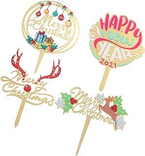 KESYOO 4pcs Merry Christmas Cake Topper Xmas Cupcake Insert Reindeer Antler Letter Fruit Dessert Picks for Holiday Seasona...