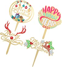 KESYOO 4pcs Merry Christmas Cake Topper Xmas Cupcake Insert Reindeer Antler Letter Fruit Dessert Picks for Holiday Seasona...