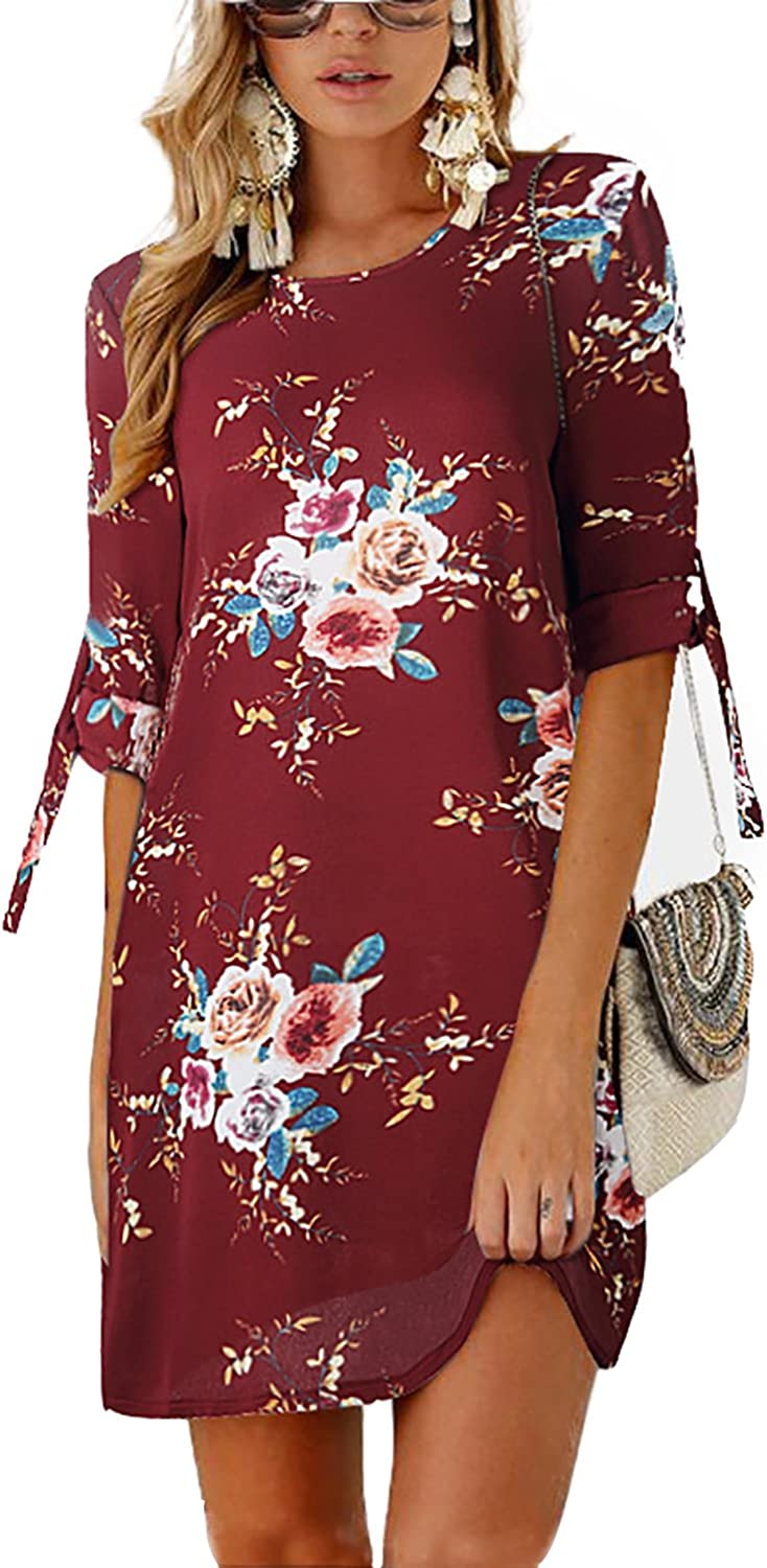Minipeach Women's Summer Round Neck Printed Casual Short Strap Mini Dress Red