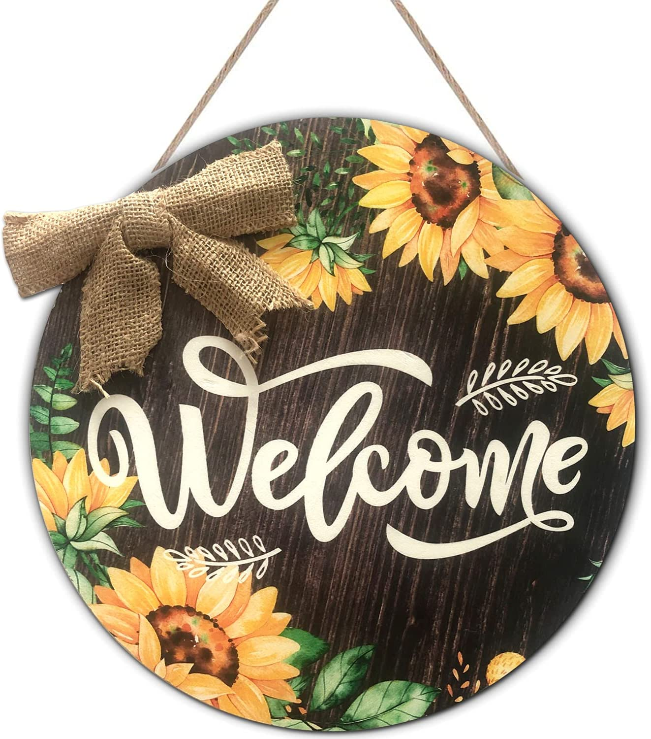Sunflower Welcome Sign, 12 x 12 Inches Rustic Sunflower Front Door Decor with Burlap Bow, Farmhouse Porch Decoration Round Wooden Hanging Sign for Home, Restaurant Wall Décor (Sunflower)