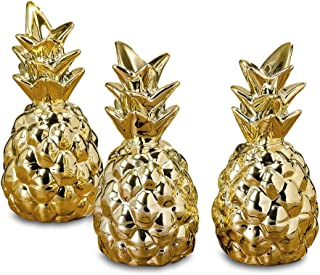 WHW Whole House Worlds Key West Golden Prickly Pineapples, Set of 3, Baby Cocktail Table Sculptures, Tropical Art, Ornament, Glazed Ceramic, 4 1/4 Inches Tall, Clear Gift Box