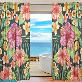 YATELI Sheer Curtains 55 W x 84 L Inches Fashion Flower Tropical Leaf Voile Tulle Window 2 Panels for Home