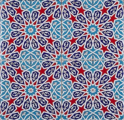 Asli - Kleurrijke Turkse wandtegels, 1 verpakking (4 stuks), keramische tegels met patroon, 20 x 20, ideaal voor de keuken of badkamer.