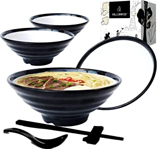 4 White Black Ramen Bowl Set. 16 Pieces: Asian Japanese soup with Spoons, Chopsticks and Stands Rest. Restaurant Quality M...