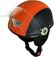 AllExtreme EXLH2 PU Leather Padded Half Face Safety Helmet with Clear Visor & Quick Release Buckle for Women, Girl & Men (Black & Orange)