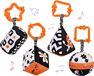 DMG-4 High-Contrast Baby Bed Hanging Toys, Back And White Shape Baby And Newborn Rattle Hanging Toys Set, Suitable For Bab...