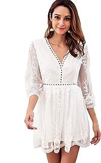 Women's Pointelle Trim Mesh Overlay Embroidered Short Dress