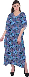 RADANYA Floral Women Kaftan Loose Summer Cotton Maxi Dress Beachwear Night Wear Caftan