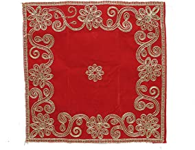 Pooja Mat Aasan Red Velvet Aasan Decorative Cloth (Size:-12 Inches X 12 Inches,) for Multipurpose Pooja Decorations Item &...