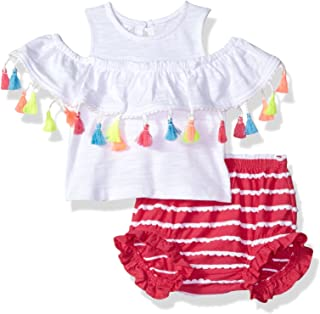 Mud Pie Baby Girls Floral Sleeveless Ruffle Pinafore /& Bloomer 2 Pc Playwear