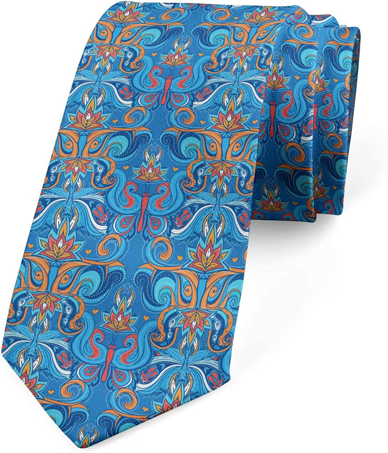 Ambesonne Men's Tie, Abstract Floral Ornaments, Necktie, 3.7
