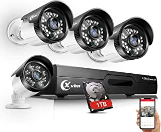 【Updated】 XVIM 8CH 4-in-1 720P DVR Security Camera System CCTV Wired Recorder with 1TB Hard Drive,4pcs Outdoor Surveillance Cameras with Night Vision, Easy Remote Access on Phone