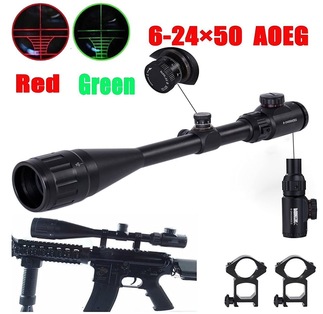 VOKUL 6-24x50mm Red & Green Hunting Rifle Scope Illuminated Crosshair Gun Scopes with Free Mounts and Lens Cover Illuminated Level: 5 Intensity (Red) and 5 Intensity (Green)