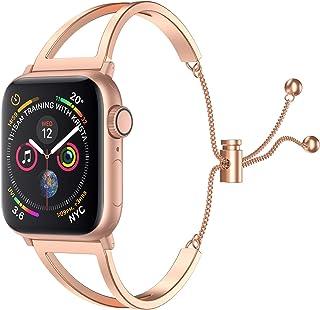 SamHity コンパチブル アップルウォッチ バンド、華奢な感じのステンレス レディース バンドCompatible Apple Watch バンド 38mm 40mm 42mm 44mm iwatch Series 5/4/3/2/1に対応