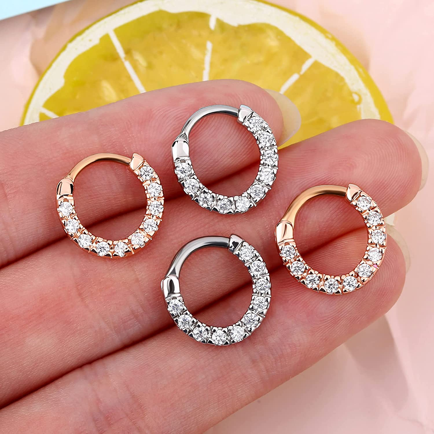 Melighting Septum Jewelry 16G Nose Ring for Women 316L Surgical Stainless Steel Clear CZ Septum Clicker Helix Earrings Cartilage Tragus Rook Earring Piercing Jewelry for Men
