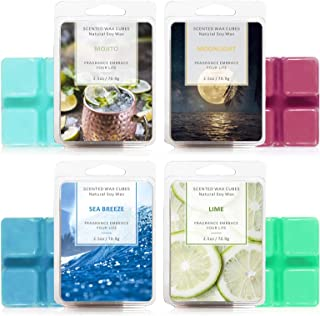 LA BELLEFÉE Scented Wax Cube 4 Packs, Scented Wax Melts, Natural Soy Wax Cube for Warmer(4x2.5oz, sea breezes, Mojito, Moo...
