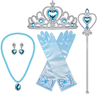 salut Princess Dress up Accessories 5 Pieces Gift Set for Elsa Crown Scepter Necklace Earrings Gloves