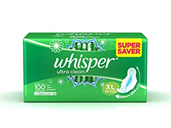 Whisper Ultra Clean Sanitary with Wings - 30 Pieces (XL)