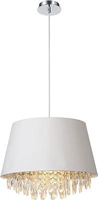 Lucide, Cotone metallo Tessuto, bianco, E27 60W 230V