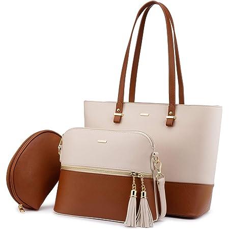 LOVEVOOK Handtasche Damen Schultertasche Handtaschen Tragetasche Damen Groß Designer Elegant Umhängetasche Henkeltasche Set 3-teiliges Set (Beige-Braun)