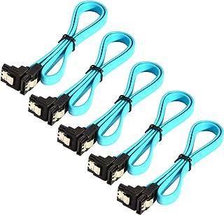 JacobsParts - Pacote com 5 cabos SATA 3.0 SATA3 III 6GB/s Disco rígido SSD HDD com ângulo reto, azul