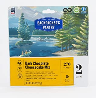 Backpacker's Pantry Dark Chocolate Cheesecake Mix, 2 Servings Per Pouch, Freeze Dried Food, 8 Grams of Protein, Vegetarian