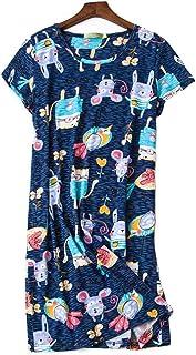 DSJJ Chemise de Nuit Femme Manches Courtes,Vêtement de Nuit Coton été Grande Taille imprimé Mode Robe Nightdress