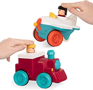 Battat – Push and Go Vehicles – Friction Powered Pull-back Cars for Kids 18 Months + (Plane + Train Combo)