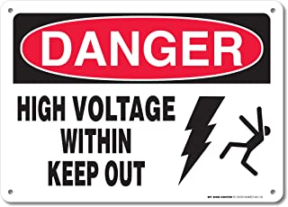 Danger High Voltage Within Keep Out Electrical Sign by My Sign Center - Rust Free, UV Coated and Weatherproof .040 Aluminum - Rounded Corners and Pre-drilled Holes - 10