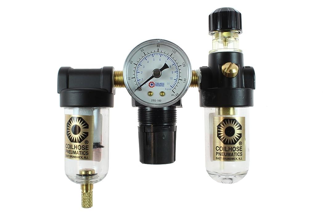 Coilhose Pneumatics MFRL2-G Miniature Series Filter Regulator and Lubricator Trio, 1/4-Inch Pipe Size with 0-160 PSI Pressure Gauge