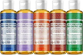 Dr. Bronner's - Pure-Castile Liquid Soap (4 Ounce Variety Pack) Peppermint, Lavender, Tea Tree, Eucalyptus, Almond - Made ...