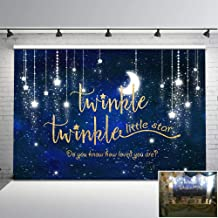 Mehofoto Twinkle Twinkle Little Star Backdrop Shinning Star and Moon Galaxy Space Photography Background 7x5ft Glitter Little Star Birthday Baby Shower Backdrop Party Studio Props