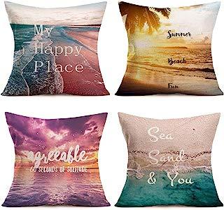 Smilyard Coastal Ocean Throw Pillows Covers Summer Beach Decorative Pillow Covers Cotton Linen Quote Decor Throw Pillowcase Cushion Cover 18x18 Inch Set of 4(Summer Beach Set)