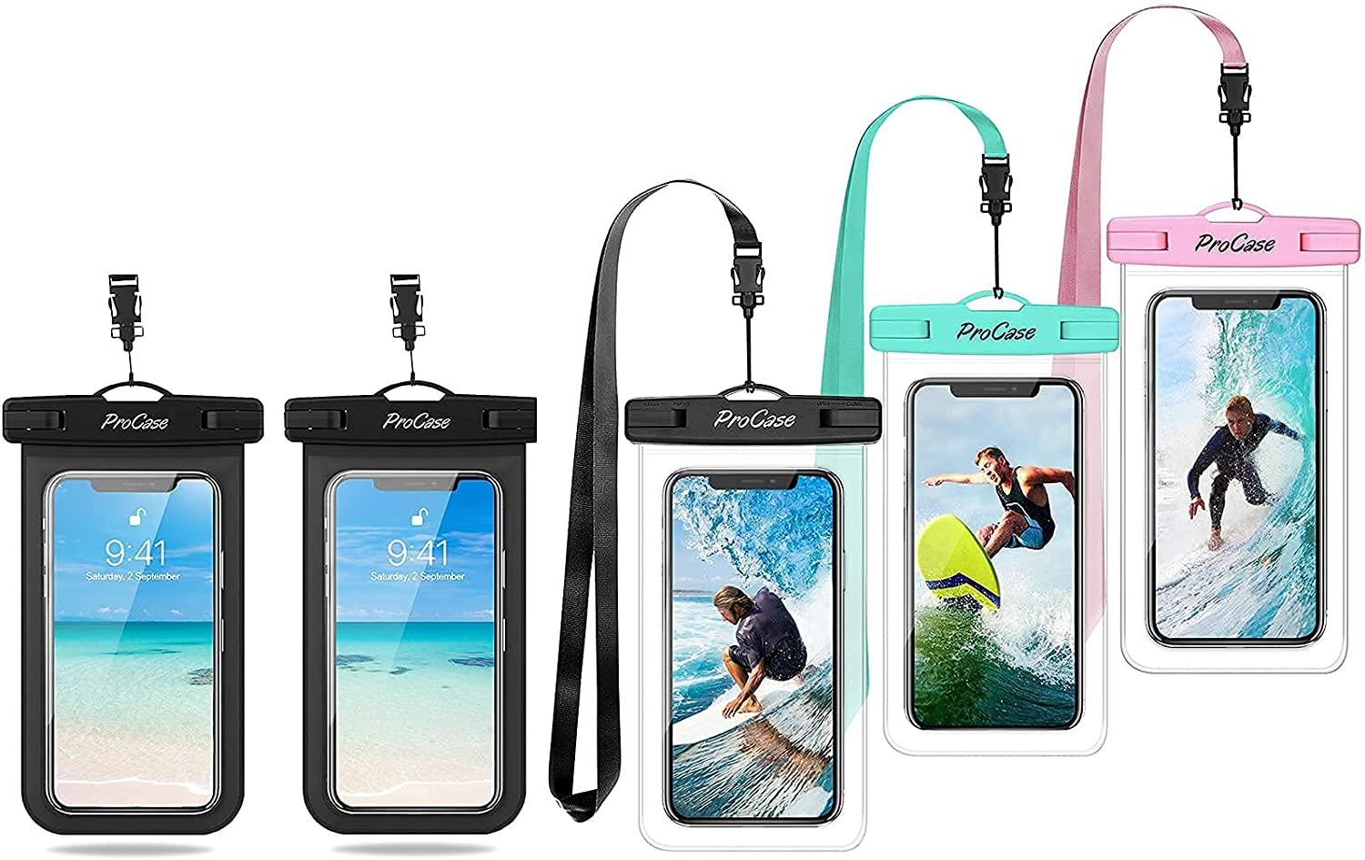 ProCase 2 Pack Universal Waterproof Phone Pouch Bundle with ProCase 3 Pack Universal Waterproof Pouch Cellphone Dry Bag Underwater Case