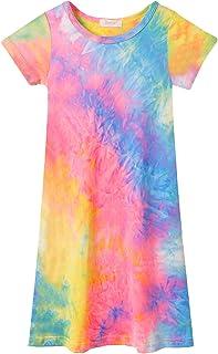 VWMYQ Girls Cotton T-Shirt Dress Swim Cover Up Beach Bathing Suit Coverup Short Sleeve Summer Sundress Size 5-12 Years