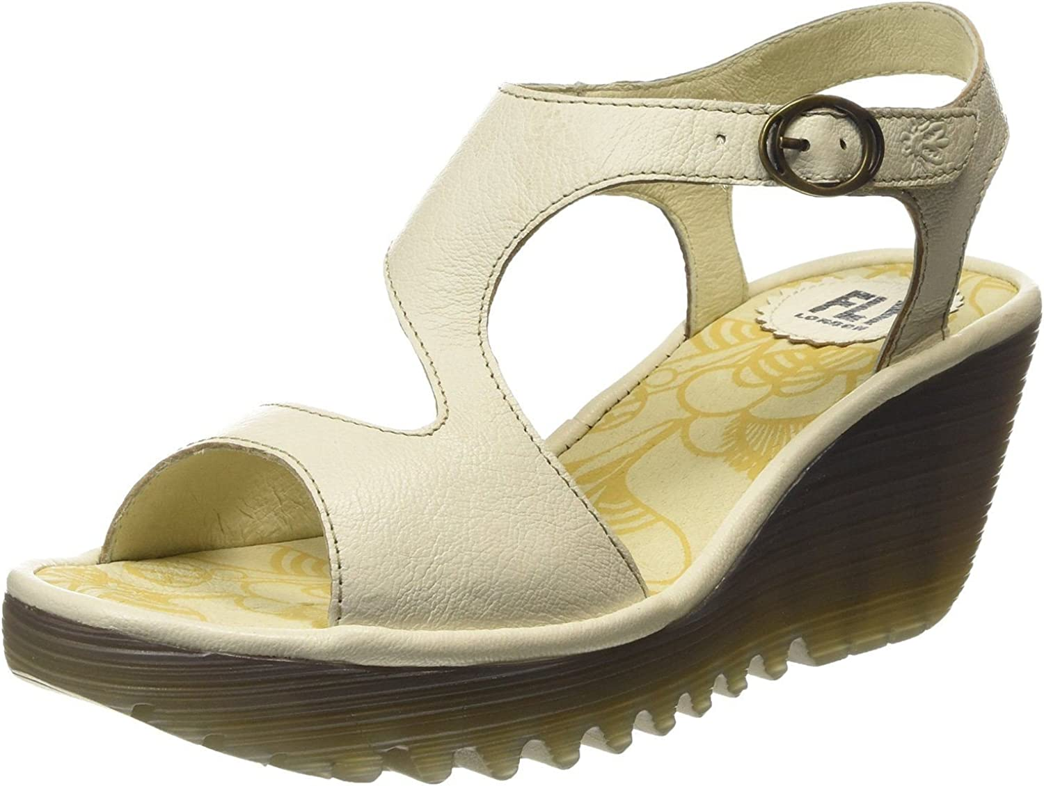 Fly London Yanca Off White Womens Leather Wedge Sandals shoes