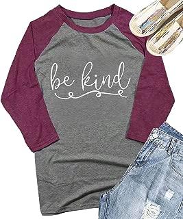 Be Kind Inspirational T Shirts Women 3/4 Sleeve O-Neck Graphics Teacher Baseball Tees Tops