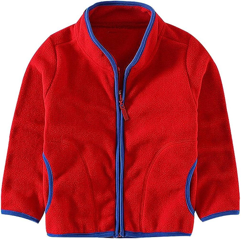 Sweety Kids Gentle Zip Up Contrast Piping 2 Pocket Stand Collar Fleece Jacket