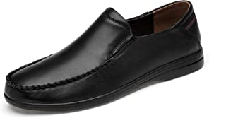 A'erma Genuine Leather Men Loafers Slip-On Flats Casual Shoes