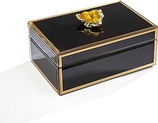 منظم صندوق المجوهرات فيليب ويتني - إطار ذهبي أسود مع جيوود كهرمانية - 20.32 سم × 12.7 سم