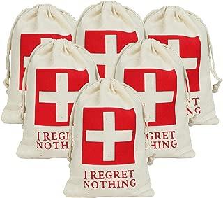 vLoveLife 10pcs 4'' x 6'' I REGRET NOTHING Wedding Party Favor Bags RED GLITTER CROSS Bachelorette Hangover Kit Bags Recovery Kit Bags Survival Kit Bags Cotton Muslin Drawstring Bag
