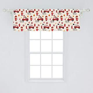Lunarable Fire Truck Window Valance, Little Boys and Girls in Uniforms Fire Fighters Theme Career Profession Pattern, Curtain Valance for Kitchen Bedroom Decor with Rod Pocket, 54