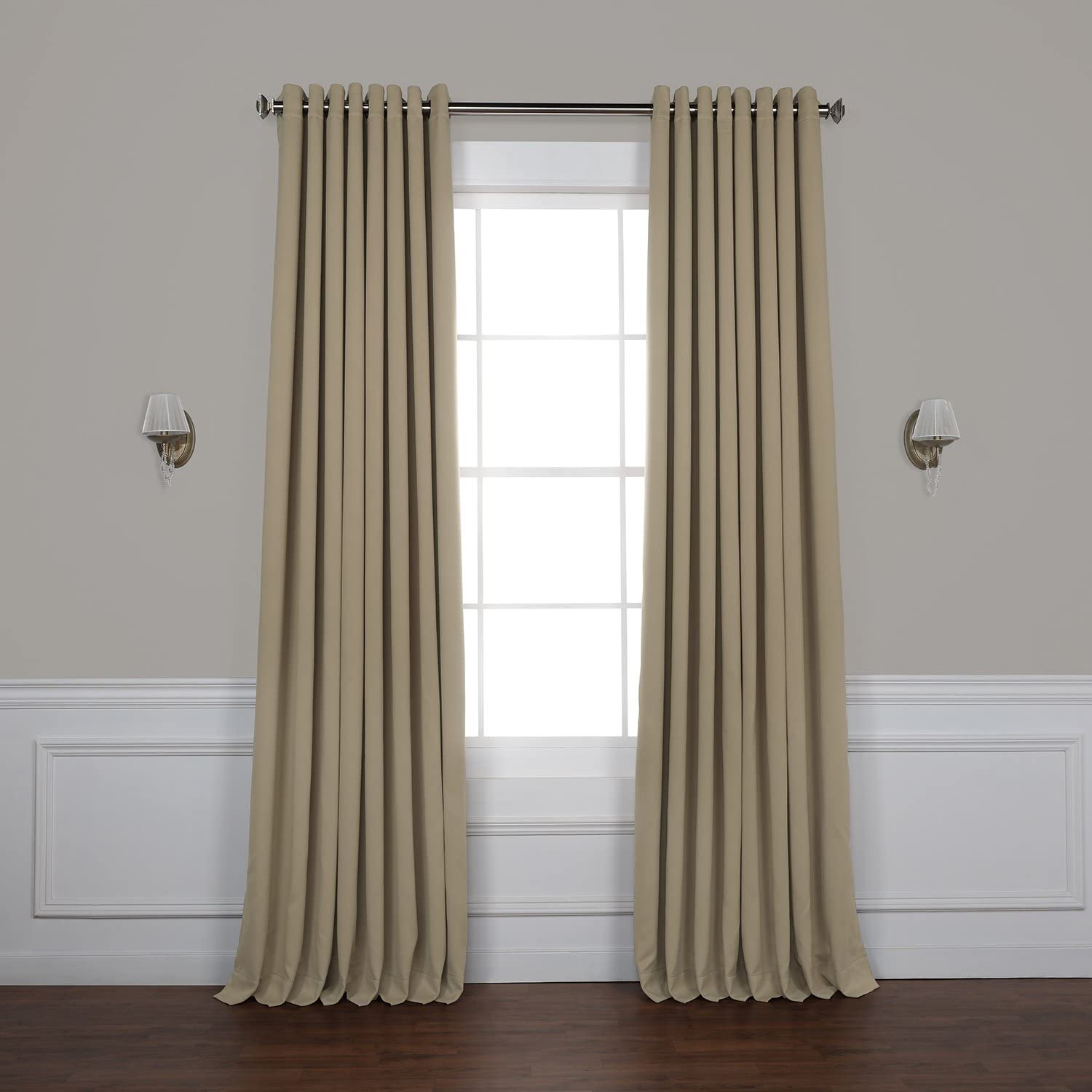 HPD HALF PRICE DRAPES BOCH-151304-108-GRDW Grommet Extra Wide Room Darkening Curtain 100 x 108 Classic Taupe 1 Panel