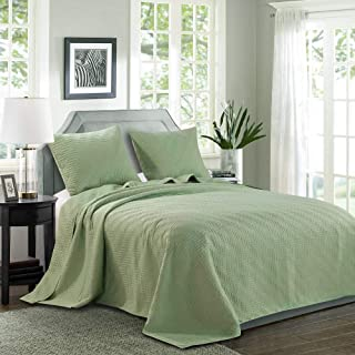 """LINT HINT 100% Microfiber Quilted&Prewashed 3PC Oversized Bedspread Set/Quilt Set/Coverlet Set.Full/Queen: 100""""x106""""/20x26""""(2), King/Cal King: 118""""x106""""/20x36""""(2 (Pattern #1-Sage, Full/Queen)"""