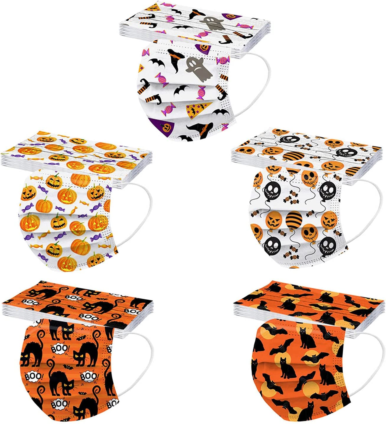 50 Pcs 5% OFF Kids Disposable Face_Masks Printed Halloween SEAL limited product Facemasks f
