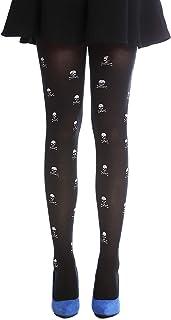 Dress Me Up, Dress Me Up - W-018 Panti Medias Carnaval Halloween Negro Huesos y Calaveras Blancas para Bruja Vampira Punky gotico EMO S/M