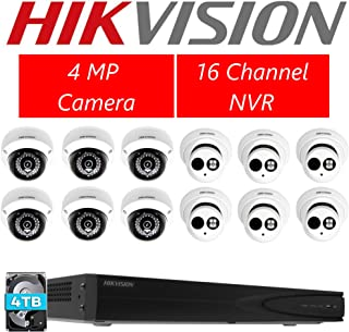 Hikvision DS-7616NI-E2/16P 16CH POE NVR & 6pcs DS-2CD2142FWD-I 2.8mm Dome Camera + 6pcs DS-2CD2342WD-I 4.0mm Turret Camera + 4TB Hard Drive Kit with mounts