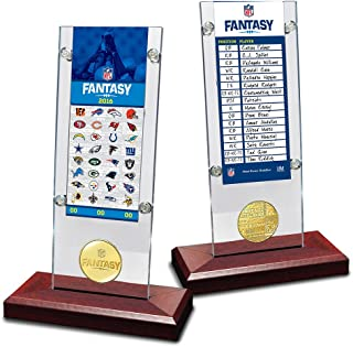 The Highland Mint NFL Fantasy Football Roster Card Coin Desk Top Acrylic Holder, 12