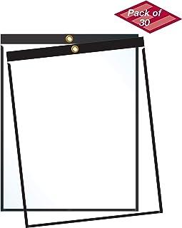 "EnvyPak Job Ticket Holders - 9""x12"" - Pack of 30 (Black) Top-Loading with Eyelet for Hanging"